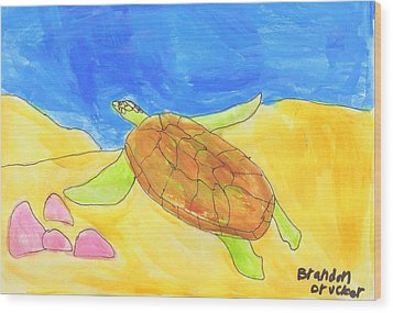 Wood Print featuring the painting Turtle by Artists With Autism Inc