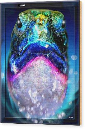 Wood Print featuring the digital art Turtle by Daniel Janda