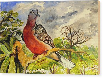 Wood Print featuring the painting Turtle - Dove by Jason Sentuf