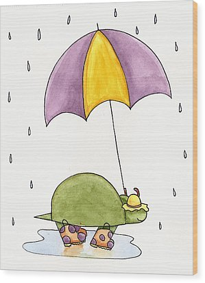 Turtle In The Rain Wood Print by Christy Beckwith