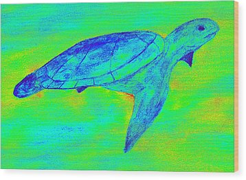 Turtle Life - Digital Ink Stamp Green Wood Print by Brett Smith