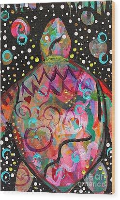 Turtle Medicine Wood Print by Kim Heil