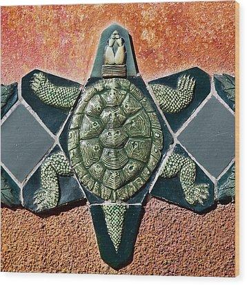 Turtle Mosaic Wood Print by Carol Leigh