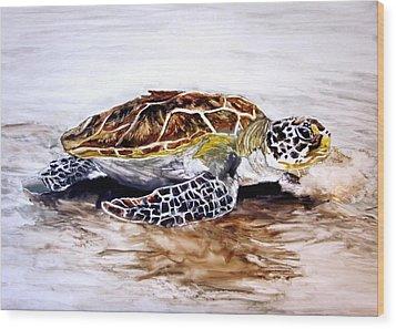 Turtle On The Beach Wood Print by Maris Sherwood