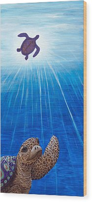 Wood Print featuring the painting Turtle Painting Bomber Triptych 1 by Rebecca Parker