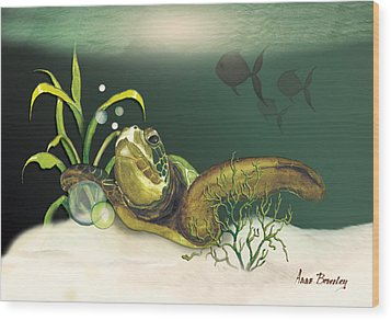 Turtle Swimming Over Reef Wood Print