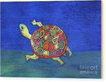 Turtle Trot Wood Print by Marlene Robbins