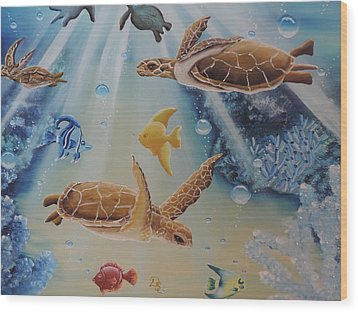 Turtles At Sea #2 Wood Print