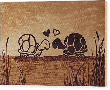 Turtles Love Coffee Painting Wood Print by Georgeta  Blanaru