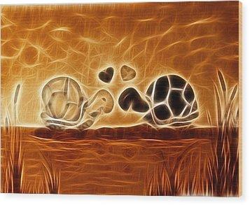 Turtles Love Fractalius Wood Print by Georgeta Blanaru
