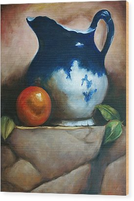 Tuscan Blue Pitcher Still Life Wood Print by Melinda Saminski