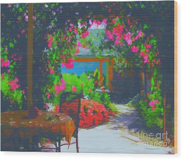 Wood Print featuring the painting Tuscan Courtyard by Tim Gilliland
