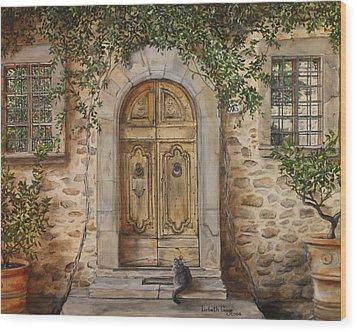 Tuscan Door Wood Print by Lizbeth Gage