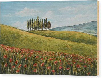 Tuscan Field With Poppies Wood Print by Melinda Saminski