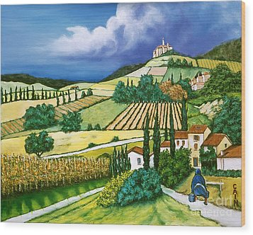 Tuscan Fields Wood Print by William Cain