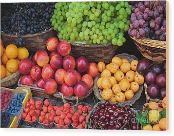 Tuscan Fruit Wood Print by Inge Johnsson