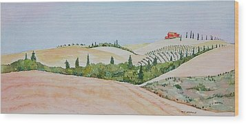 Tuscan Hillside One Wood Print by Mary Ellen Mueller Legault