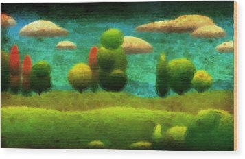 Wood Print featuring the digital art Tuscan Landscape by Milton Thompson