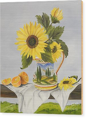 Wood Print featuring the painting Tuscan Pitcher And Sunflowers by Carol Sweetwood