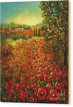 Wood Print featuring the painting Tuscan Poppies by Lou Ann Bagnall