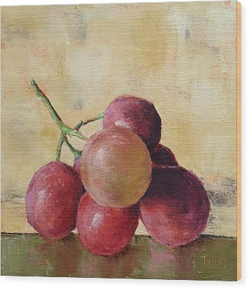 Wood Print featuring the painting Tuscan Red Globe Grapes by Pam Talley