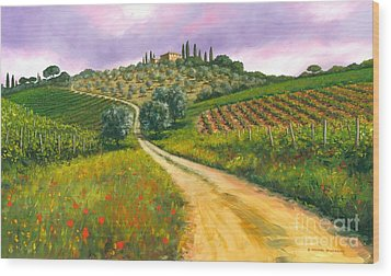 Tuscan Road Wood Print by Michael Swanson