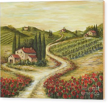 Tuscan Road With Poppies Wood Print by Marilyn Dunlap