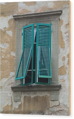Tuscan Shutters Wood Print by Michael Flood