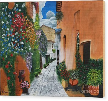 Wood Print featuring the painting Tuscan Street Scene by Bev Conover