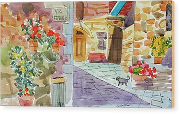 Tuscan Street Scene Wood Print