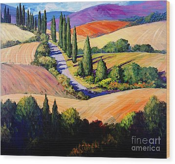 Tuscan Trail Wood Print by Michael Swanson