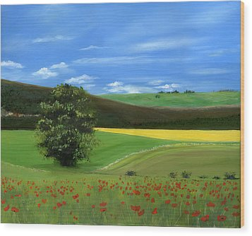 Tuscan Tree With Poppy Field Wood Print by Cecilia Brendel