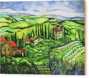 Tuscan Valley Wood Print