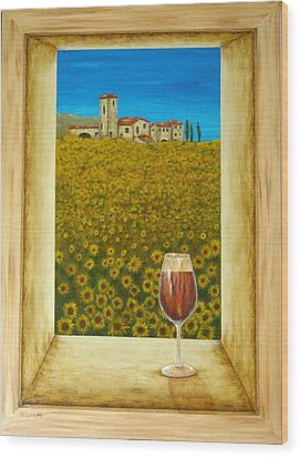 Tuscan View Wood Print by Pamela Allegretto