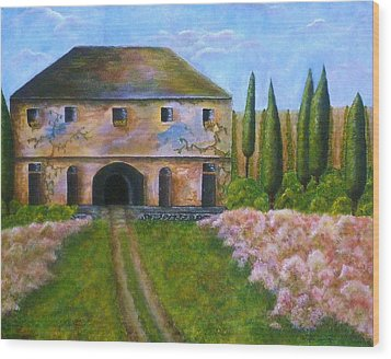 Wood Print featuring the painting Tuscan Villa by Tamyra Crossley