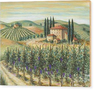 Tuscan Vineyard And Villa Wood Print by Marilyn Dunlap