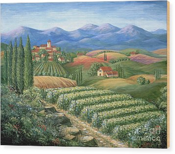 Tuscan Vineyard And Village  Wood Print by Marilyn Dunlap