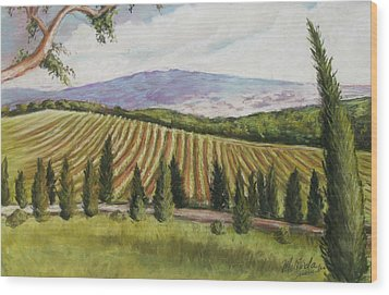 Tuscan Vineyard Wood Print by Melinda Saminski