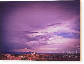 Tuscania Village With Approaching Storm  Italy Wood Print by Silvia Ganora
