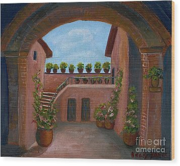 Wood Print featuring the painting Tuscany Arch by Becky Lupe