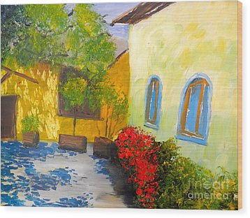 Tuscany Courtyard 2 Wood Print by Pamela  Meredith