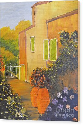 Wood Print featuring the painting Tuscany Courtyard by Pamela  Meredith