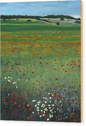 Tuscany Flower Field Wood Print by Cecilia Brendel