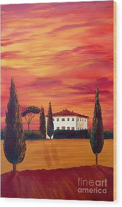 Tuscany In Red Wood Print by Christine Huwer