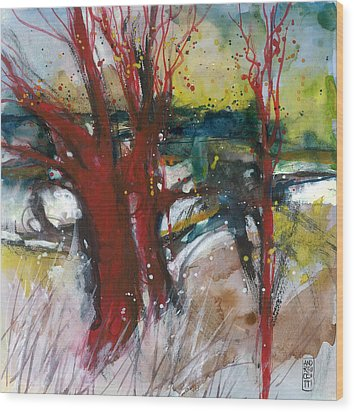 Tuscany Landscape With Red Tree Wood Print by Alessandro Andreuccetti