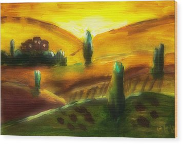 Tuscany Sunrise Wood Print by Peg Holmes