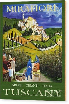 Tuscany Wine Poster Art Print Wood Print