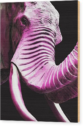 Tusk 2 - Pink Elephant Art Wood Print by Sharon Cummings