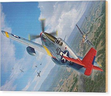 Tuskegee Airmen P-51 Mustang Wood Print by Stu Shepherd