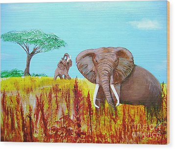 Wood Print featuring the painting Tusks2 by Donna Dixon